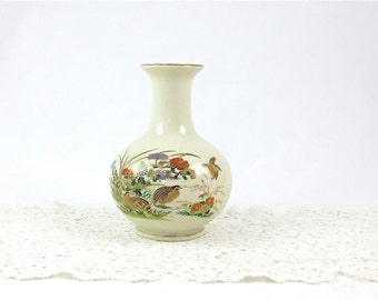 "Otagiri 6"" Pheasant and Floral Vase / Japan / Cream, Earth Tones and Gold"