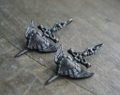 Dagger, Heart, Angel Wing Earrings / Dramatic Goth or Halloween Earrings on Niobium French Earwires