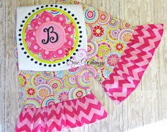 Monogram flower shirt and pant set- Flower Monogram Applique Shirt and Ruffle Pants Set- Ruffle Pants- Pink Flower Shirt- Girl Birthday