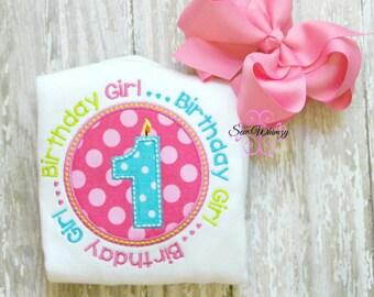 Birthday Girl shirt- Birthday shirt- Girl's Birthday number shirt- Monogram Birthday shirt- Embroidered birthday shirt- Applique Birthday