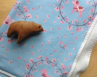 Pink and Blue Baby Blanket with Dala Horses and Cherry Blossoms in Organic Jersey Cotton