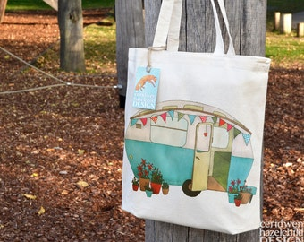 Blue Caravan Tote Bag, Ethically Produced Reusable Shopper Bag, Cotton Tote, Shopping Bag, Eco Tote Bag