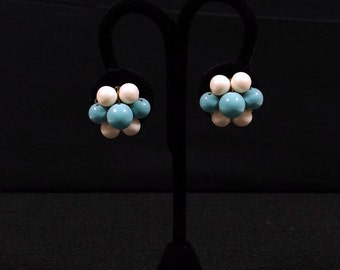 JAPAN Turquoise and White Clip On Earrings
