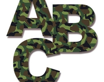 CAMO LETTER DECAL Wall Art Military Army Alphabet Sticker Room Decor Green  Camouflage Personalized Name Kids