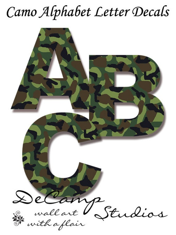 Camo Nursery Wall Decor : Camo letter decal wall art military army alphabet sticker room