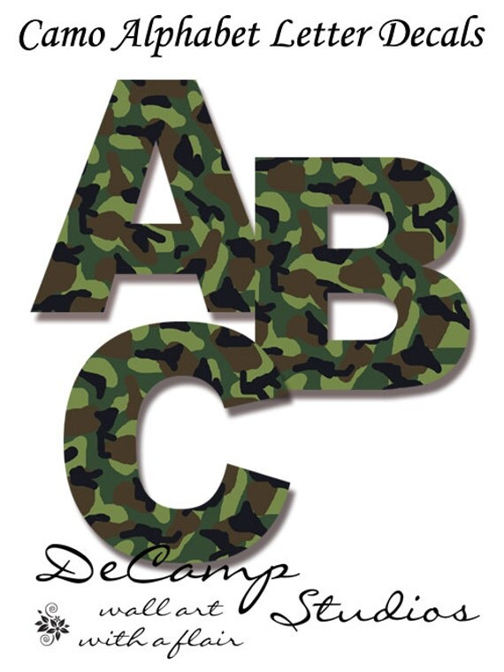 Camo letter decal wall art military army alphabet sticker room decor green camouflage personalized name kids hunting baby boy abc nursery