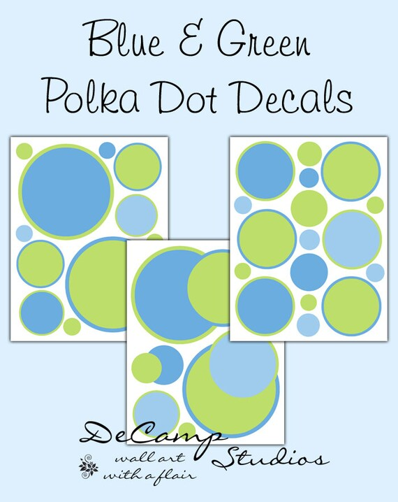Blue green polka dots wall decals baby boys nursery room decor for Polka dot wall decals for kids rooms