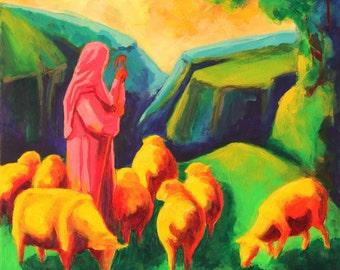 Sheep and Shepherd giclee canvas print Bertram Poole
