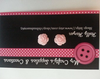 Light Pink Cabochon Rose Earrings 10mm