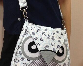 Sailly: Flip Bag, Owl Bag, messenger bag, tote, animal, kid bag, children bag, fabric bag, girl bag, boy bag, white, light blue, dot, sea
