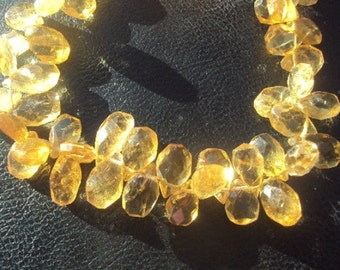 50% OFF SALE Citrine Faceted Pear Briolette Beads 8-12mm 4 Inch Half Strand