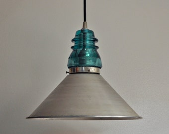 Vintage Glass Insulator Pendant Lamp with Spun Steel Shade
