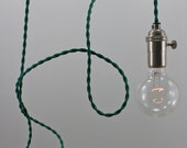 Green Modern Bare Bulb Pendant Light