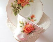 Vintage English Royal Albert Fine Bone China Margaret Pattern Tea Cup and Saucer Chelsea Shape - Ca. 1950's - 1970's