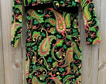 S M Small Medium Vintage 60s Velvet Trippy Psychedelic Hippie Groovy Love Child Bright Paisley Indie Hipster Alternative Prom Maxi Dress