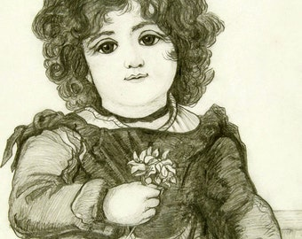 ITALIAN GIRL 1874 Simply Gorgeous ORIGINAL Pencil Drawing Archivally Matted/ Ready to Frame from TransferofTreasures