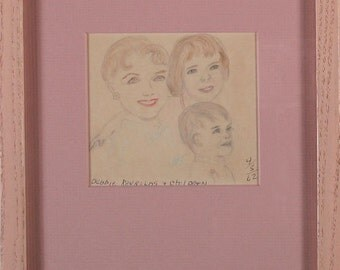 Carrie Fisher (Princess Leia as a Child) & Debbie Reynolds 1962 Folk Art Original Color Pencil Drawing Acid Free Matting Mount Framed