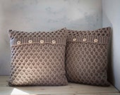 2 Hand knitted cushion beige honeycomb pattern pillow covers with wool size for cozy home decor  0174