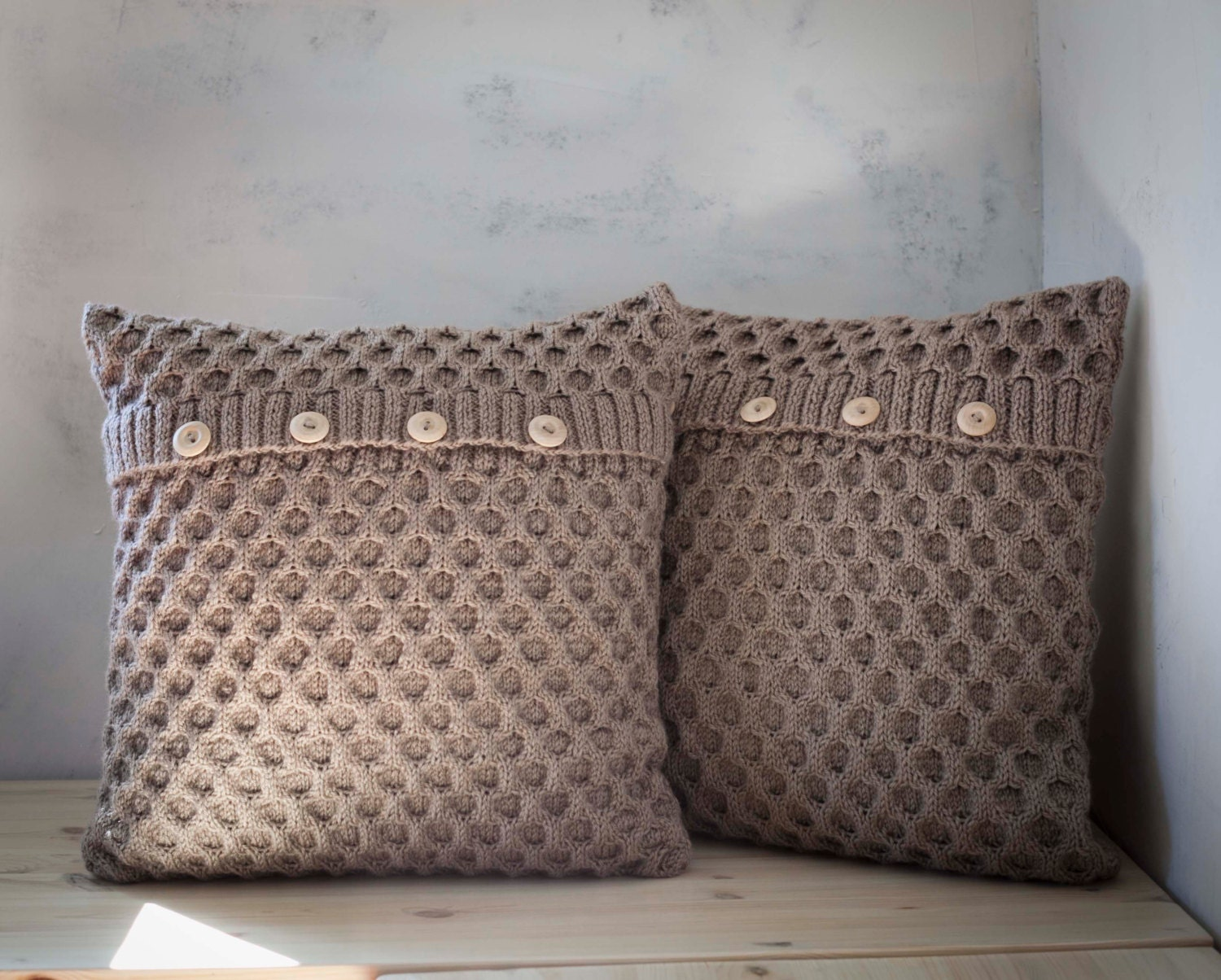 2 hand knitted cushion beige honeycomb pattern pillow covers zoom bankloansurffo Gallery