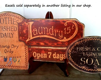 Laundry Room Sign , Clothes Washed Daily , Press n' Fold - Art Adhered To Wood And Ready To Display With Vintage Wire Hanger Or Wooden Easel