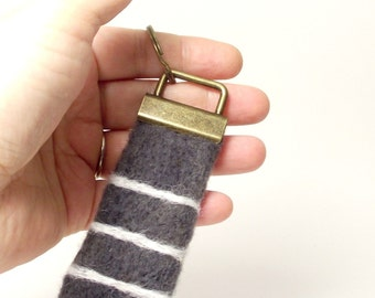Blue Grey Striped Keychain Key Fob Felted Unisex Key Chain Gift