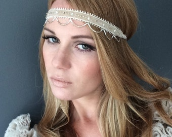Roman Ceilings - Beige Ecru 1920 Headband - Beige Great Gatsby Headpiece - Desert Sand Beaded 1920 Headband - Sand Coloured Gatsby Headpiece