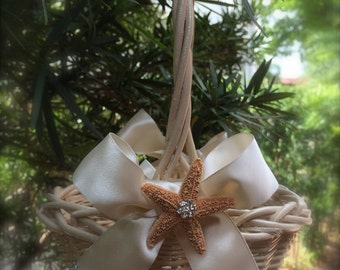 custom beach wedding flower girl basket  with ivory  ribbon and starfish destination wedding basket and pillow coral flower girl