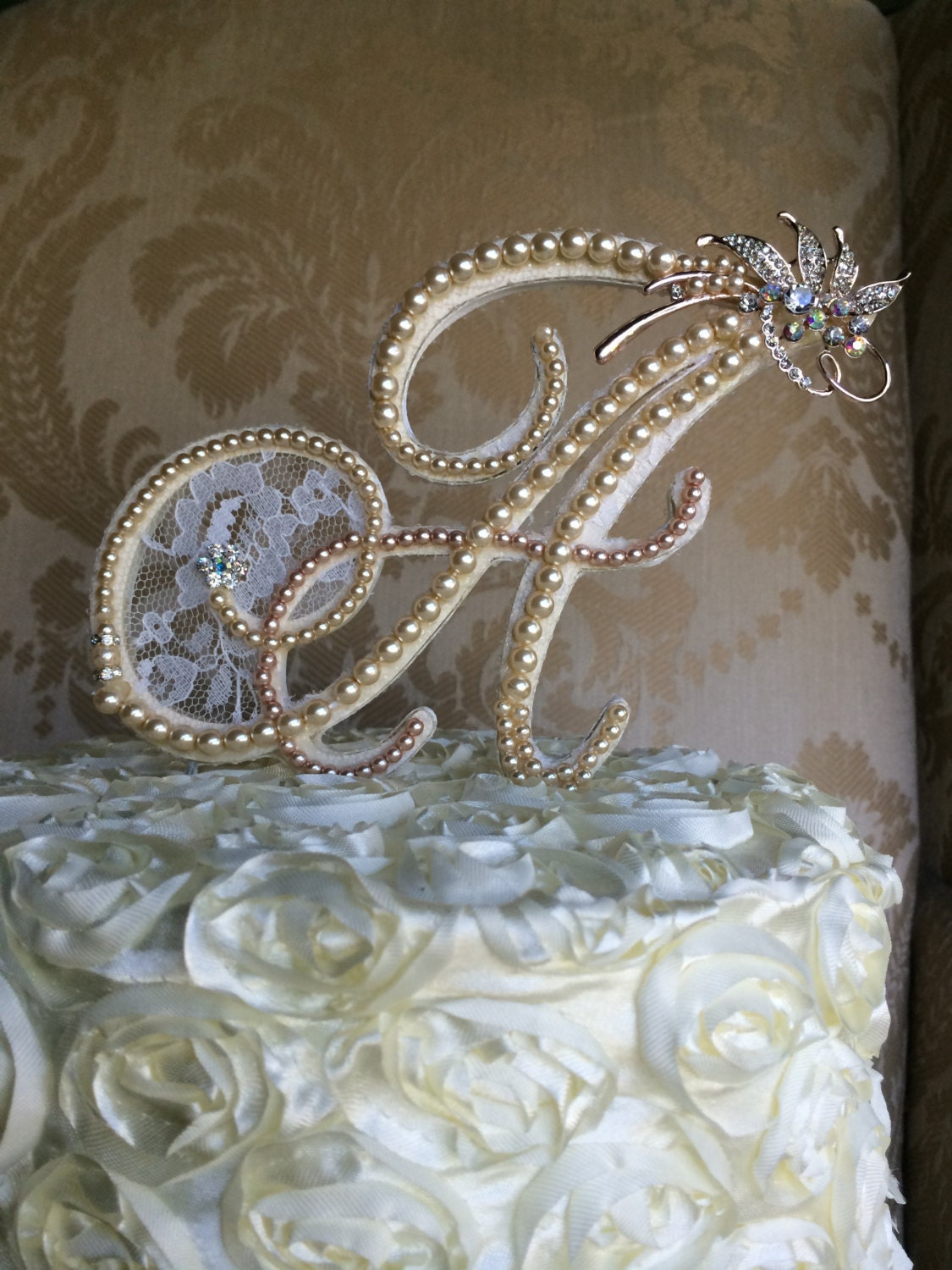custom monogram wedding cake toppers with custom lace pears