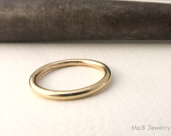 Gold Wedding Ring For Men Or Women Classic 14k Solid Band 2mm Round