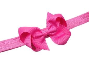 Bright pink bow headband- pink baby headband, pink newborn headband, baby bow headband, baby girl headband, pink headband