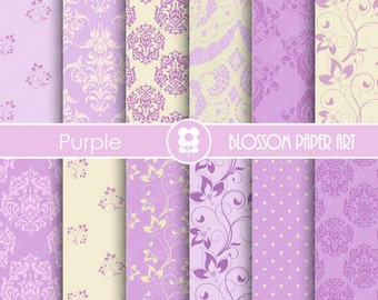 Purple Digital Paper, Wedding Paper Pack, Violet Damask Digital Paper Pack, Floral digital backgrounds, Floral, Damask Papers -1684