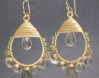Hammered drop hoops wrapped with peridot, green amethyst Siren 178