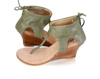 APHRODITE. Olive green shoes / leather wedges / womens leather shoes / leather sandals. Sizes 35-43. Available in different leather colors.