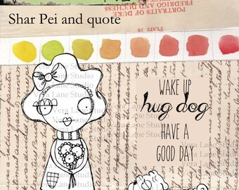 whimsical girl and her shar-pei digi stamp set