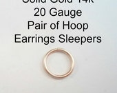 Yellow Gold 14k solid, not plated or filled Hoop Earrings PAIR Cartilage Tragus Helix Nose Ring Small Tiny Catchless Seamless Little Sleeper
