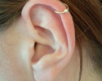 Yellow Gold Filled Hoop Earring + Silver BEAD BALL Cartilage Tragus Helix Eyebrow Nose Ring Small Tiny Catchless Seamless Little Sleeper.