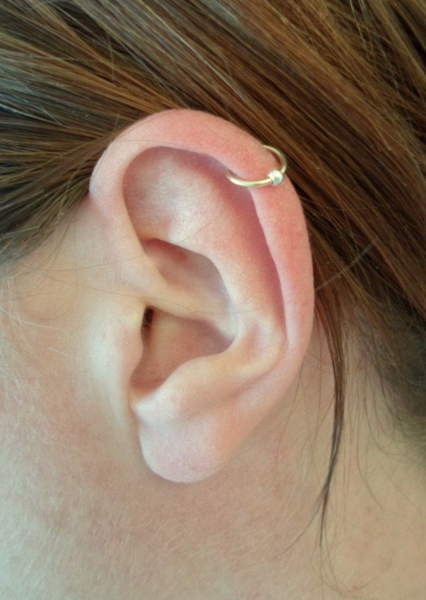 Yellow Gold Filled Hoop Earring Silver Bead Ball Cartilage
