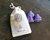 Wedding favor bags, muslin, 3x4.5.  Set of 50. Double drawstring muslin bags. Hot air balloon thank you bags.