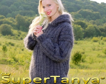 Thick and and fuzzy hand knit mohair sweater with hoodie in bluish gray by SuperTanya