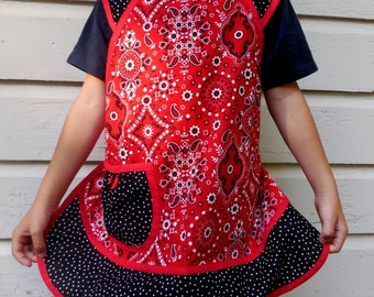 Girls Retro Style Apron-Red Bandanna and Black -Size 10