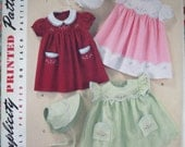 Simplicity Vintage Baby Embroidered Dress And Bonnet Pattern 2392 - Size XS-S-M-L