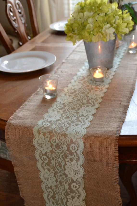 12 ft burlap and lace table runner 12 wide by 144 for 12 ft table runner