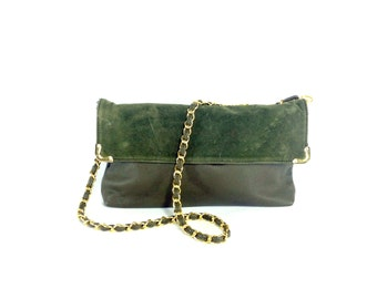Chain Strap Purse - Forest Green Formal Satchel - vegan leather chain strap bag