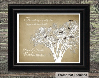 Two Hearts, 50th Wedding Anniversary, 1st Anniversary Wedding Gift, Family Tree Print Birds, Personalized Gift for Wife, Shabby Chic