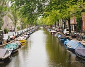 Amsterdam photography, Amsterdam Canal photo, Houseboats, Street scene, water, Travel wall art, living room decor, Netherlands, Holland