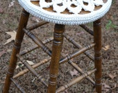 "Stool 30"" high with Crochet Cover Neutral Doily Granny Square Upcycle Recycle Littlestsister - LittlestSister"