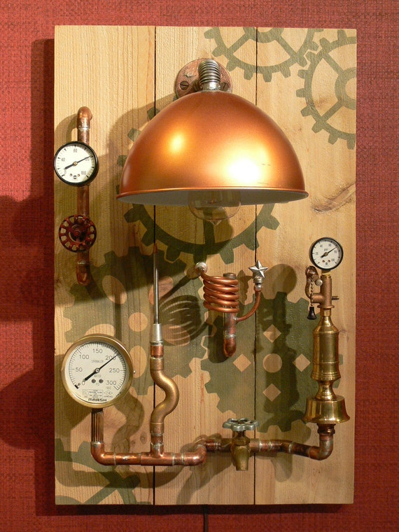 steampunk wall decor wall lamp lighting art gauges. Black Bedroom Furniture Sets. Home Design Ideas