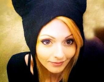 Black Cat Ears Cosplay Hat, hand felted Kat Von D hat Halloween pagan headdress fancy dress costume witches feline hat