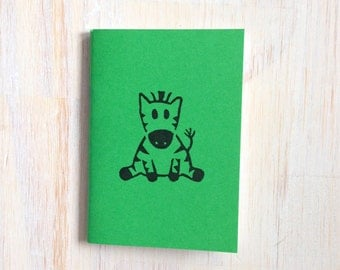 Small Notebook: Zebra, For Him, For Her, Cute, Baby, Green, Black, Hand Carved, Kids, Mini Journal, Small Notebook, Stamped, Unique, CCC15
