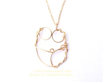 The Doula, 14k Gold-filled Abstract Wire Pendant, Doula, Midwife Gift, Birth New Mother, Blessing way